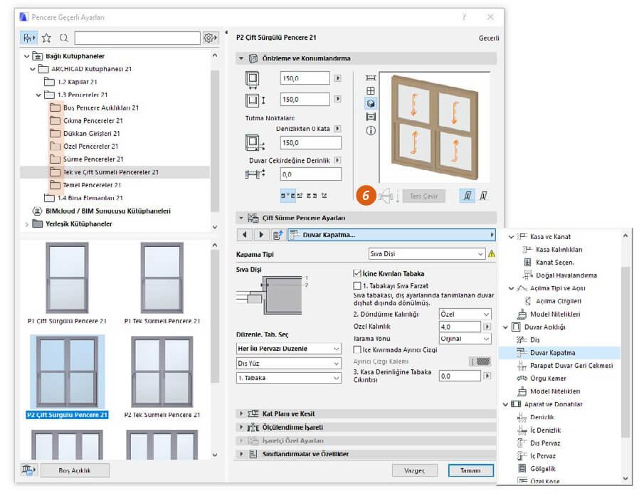 528ec9dcb2cb7 Ayrıca P tuşu ve CTRL+M (mirror) ile kapı ve pencerelerin açılış yönünü (6)  hızlıca değiştirebilirsiniz.