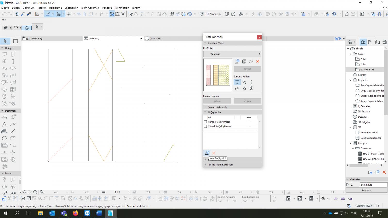 Parametrik Profiller – Ötelenebilir Yüzeyli Duvarlar 3
